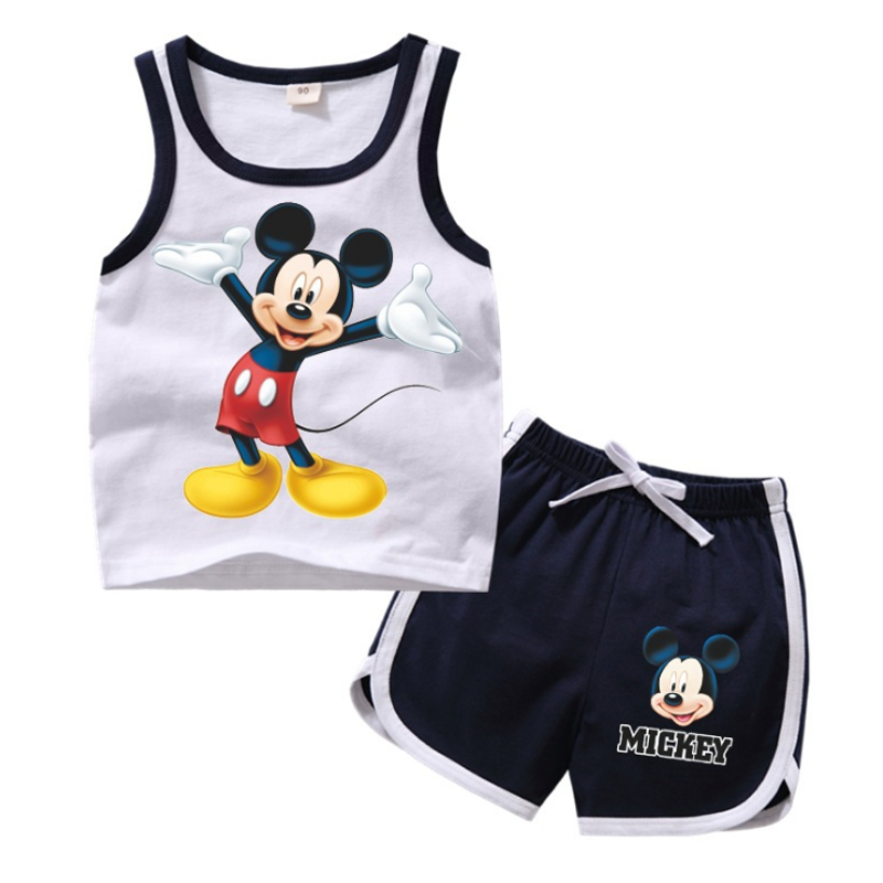Summer Children Clothing Sets Toddler Girls Elsa Clothing Sets Top+pant 2Pcs/sets Kids Casual Clothes Boys Mickey Sport Suits