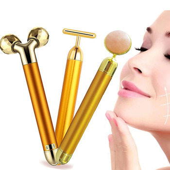 24k Gold Energy Beauty Bar Set Vibration Facial Massage Face Lift Massager Anti Age Skin Tighten Firm Roller Reduce Double Chin фото