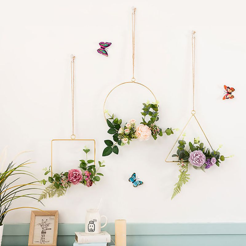 Nordic Geometric Metal Wire Wreath Hoop Frame Artificial Flower Garland Wall Hanging Decorations Wedding Party Decoration Maison