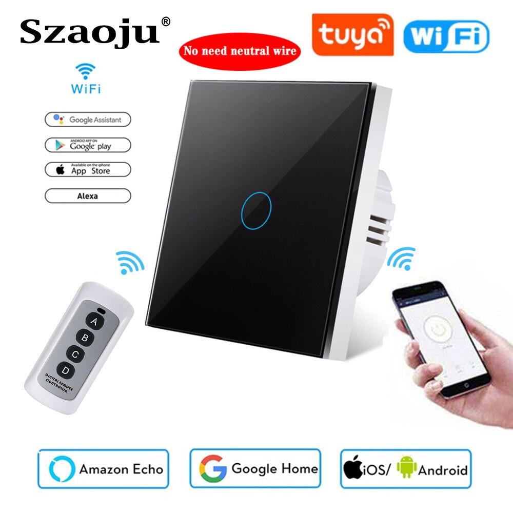 Szaoju Touch Switch EU Standard,White Crystal Glass Panel, Tuya Smart 433RF, Ac220v, 1 Set, 1 Way, Wall Light, No Need Neutral