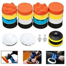 22 Teile/satz Auto Polieren Schwamm Kit 3 zoll Polieren Pad Mit M10 Gewinde Wolle Rad Adapter Auto Waschen Auto Detaillierung reinigung