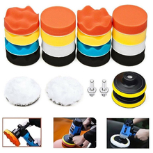 22Pcs/set Car Polishing Sponge Kit 3inch Buffing Pad With M10 Thread Wool Wheel Adapter Car Wash Auto Detailing Cleaning