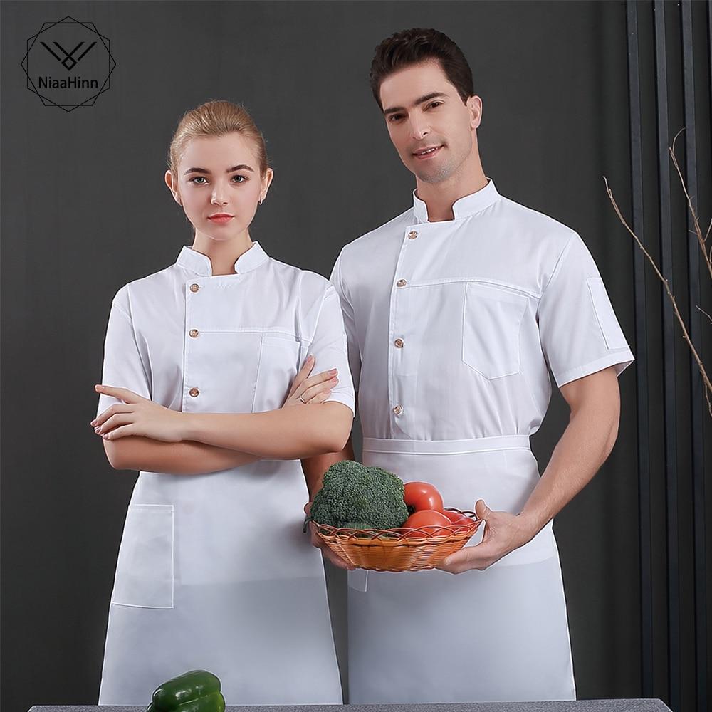 Unisex Restaurant Uniform Short Sleeves Chef Jacket Coffee Bakery Hotel Top Food Service Chef Coat Waiter Workwear Clothing Hat