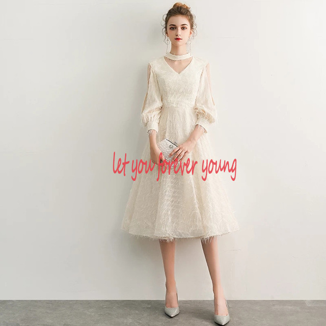 2021 New Elegant Champagne Long Evening Dresses V-Neck A-Line Floor Length Lace Prom Dresses Robe De Soiree Party Dress LYFY15 4