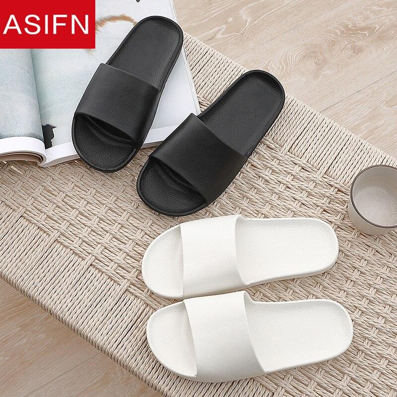 ASIFN Bathroom Slippers Men Summer Slides Simple House Household Home Couple Indoor Non-slip Slipper Men Sandals Flip Flops Male