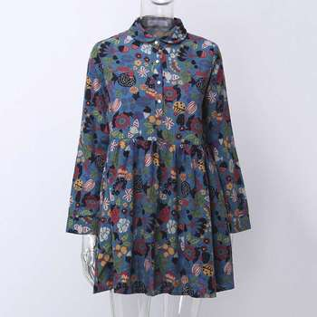S-5XL Celmia Bohemian Floral Print Dress Women Vintage Mini Dresses 2019 Fashion Long Sleeve Pleated Shirt Vestidos Plus Size 2