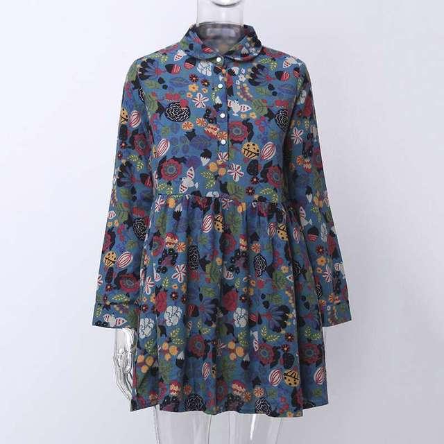 S-5XL Celmia Bohemian Floral Print Dress Women Vintage Mini Dresses 2019 Fashion Long Sleeve Pleated Shirt Vestidos Plus Size 2