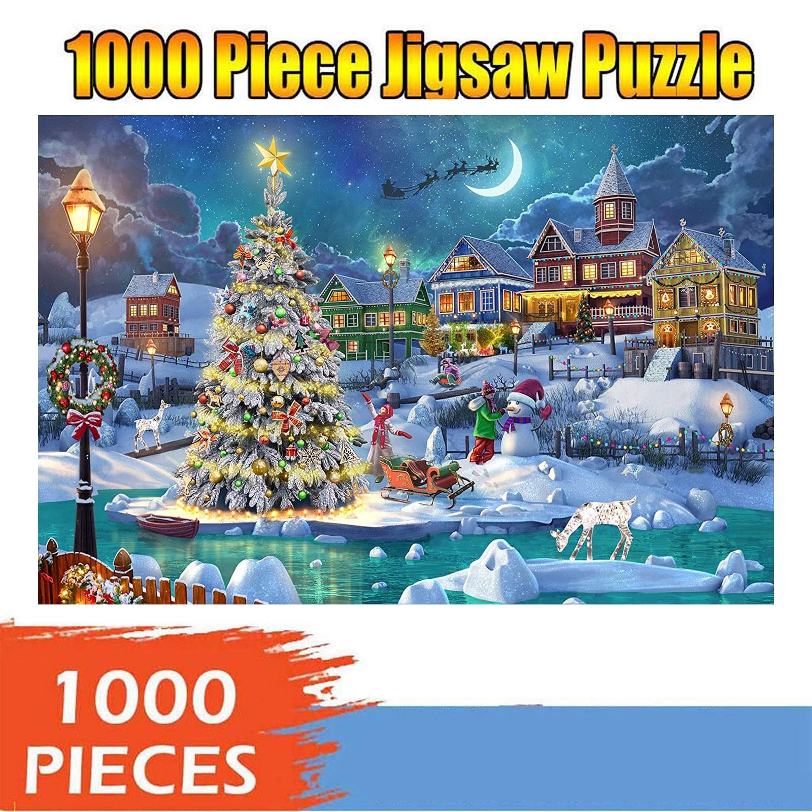 1000 peça natal bela noite neve cena padrão quebra-cabeça pai-filho brinquedos educativos interativos boa aparência pingente