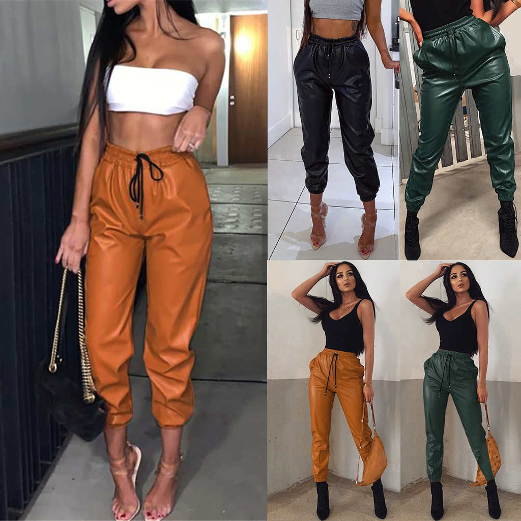 Fashion Pants Women Faux Leather Vintage Sexy High Waist Elastic Lace Up брюки Casual Party Streetwear Long Trousers Freeship