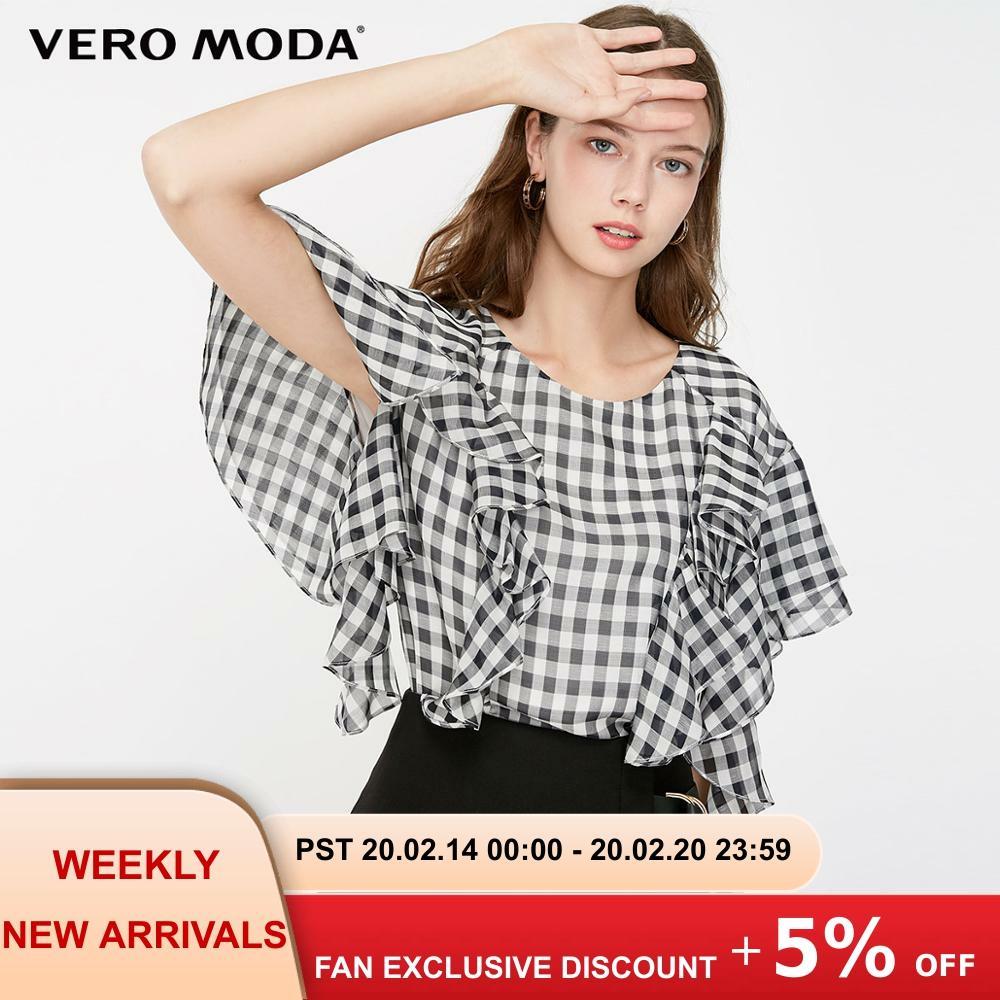 Vero Moda Women's Plaid Pattern Ruffled Butterfly Sleeves Chiffon Blouse | 319241503
