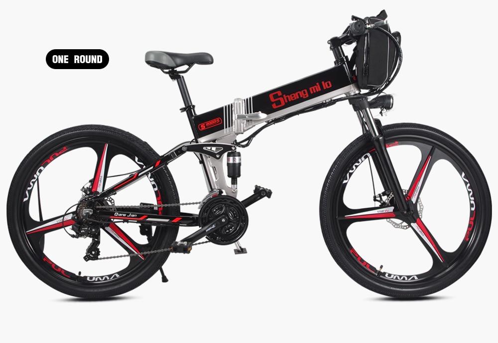 Новый электрический велосипед 21 Скорость 10AH 48V 350W 110 км встроенный литий ионный аккумулятор Байк, способный преодолевать Броды Электрический 26 внедорожный Электрический складной велосипед - 2