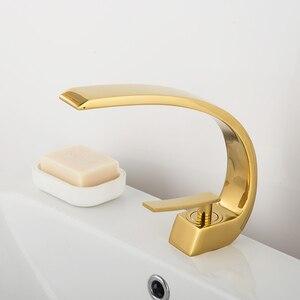 Schwarz Bronze Gebogen Becken Wasserhahn Waschbecken Kran Chrom Einzigen Griff Kalten Hot Water Mischer waschbecken Wasserhahn Bad