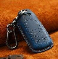 Samochód Handmade prawdziwy skórzany na klucze osłona z uchwytem Case dla Audi nowy Q7 TT A4 B9 A7 TDI Quattro TTS Sline inteligentny kluczyk zabezpieczający w Etui na kluczyki samochodowe od Samochody i motocykle na