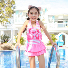 2019 New Style Hot Sales KID'S Swimwear INS Stripes Flamingo Backless Cake Layer Dress-GIRL'S Swimsuit(China)