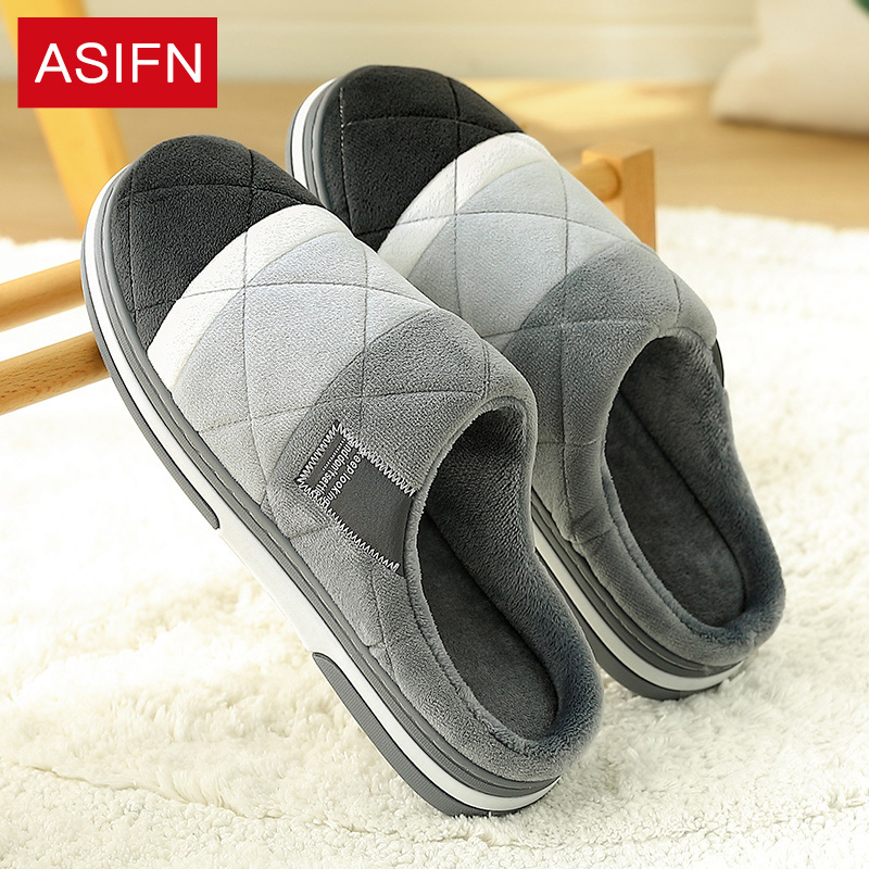 ASIFN Men Slippers With Fur Winter Waterproof Non-slip Warm Home Plus Velvet Female Slippers Couple Cotton Chinelo Masculino