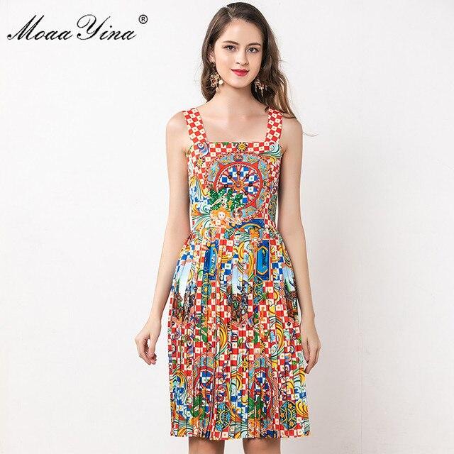 MoaaYina Fashion Designer Dress Summer Women Spaghetti strap Beaded Vintage Print Vacation Dress