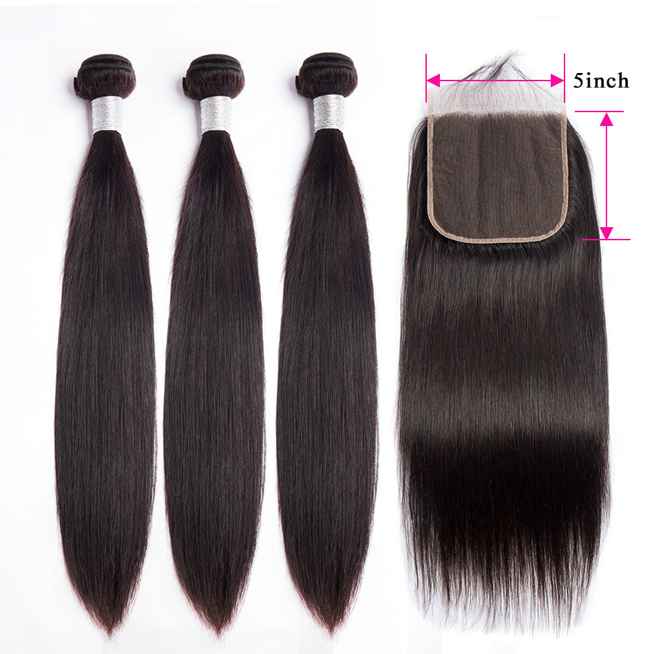 Straight Hair Bundles With 5x5 Lace Closure Alibele Hair 3 Bundles With Closure Peruvian Remy Human Hair Bundles With Closure