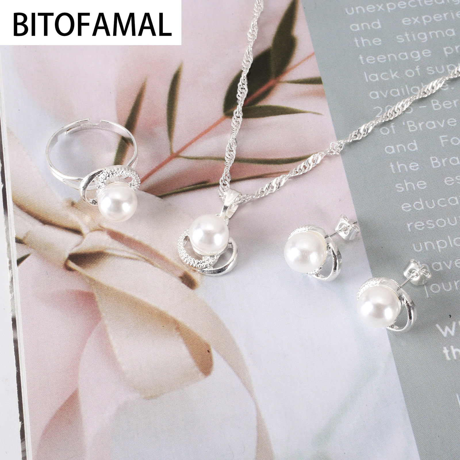 1 Set 3in1 Imitation Pearl Alloy Set Color white Earrings Necklace Ring for Women Girls  Trendy Cute Elegant Gifts for Party 1