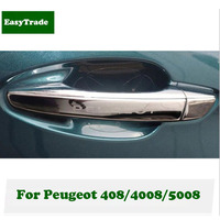 For Peugeot 408 4008 5008 accessories 2017 Car styling ABS Chrome Exterior Door Handle Cover Trim Car Accessories