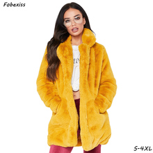 Faux Fur Coat Women Winter 2019 Plus Size 4XL Warm Outwear Pocket Yellow Rabbit Cardigan Pink Plush