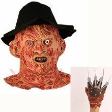 Новая маска Фредди Крюгера со шляпой лапой латексный костюм для взрослой вечеринки пятница 13th Killers Джейсон ужас Slasher larp перчатки лапы металл