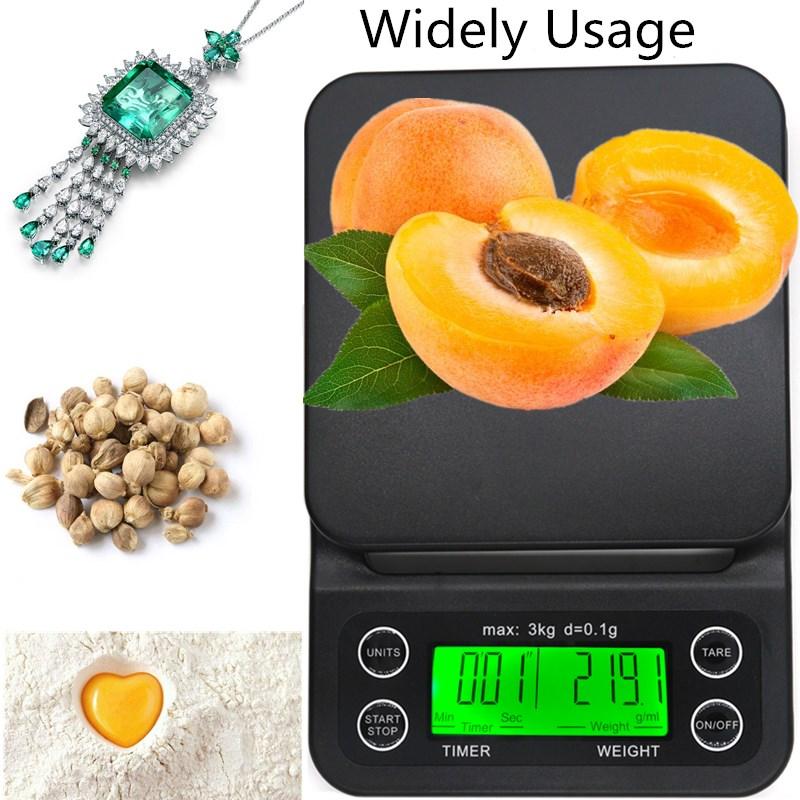 Цифровые весы для кофе, весы для ювелирных изделий, ЖК-дисплей с таймером, электронные кухонные весы для лекарств, капельные весы, скидка 30%-5