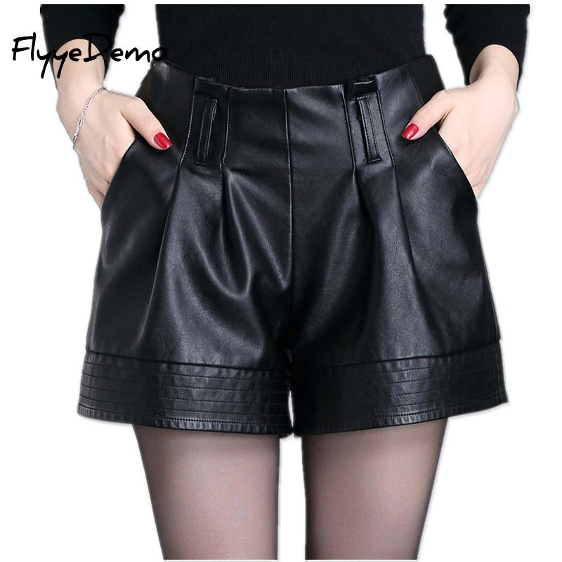 M - 4XL Womens Black Large Size Wide Leg Pu Leather Shorts High Waist Sexy Female Leather Shorts Mujer 2020 Spring Autumn Shorts