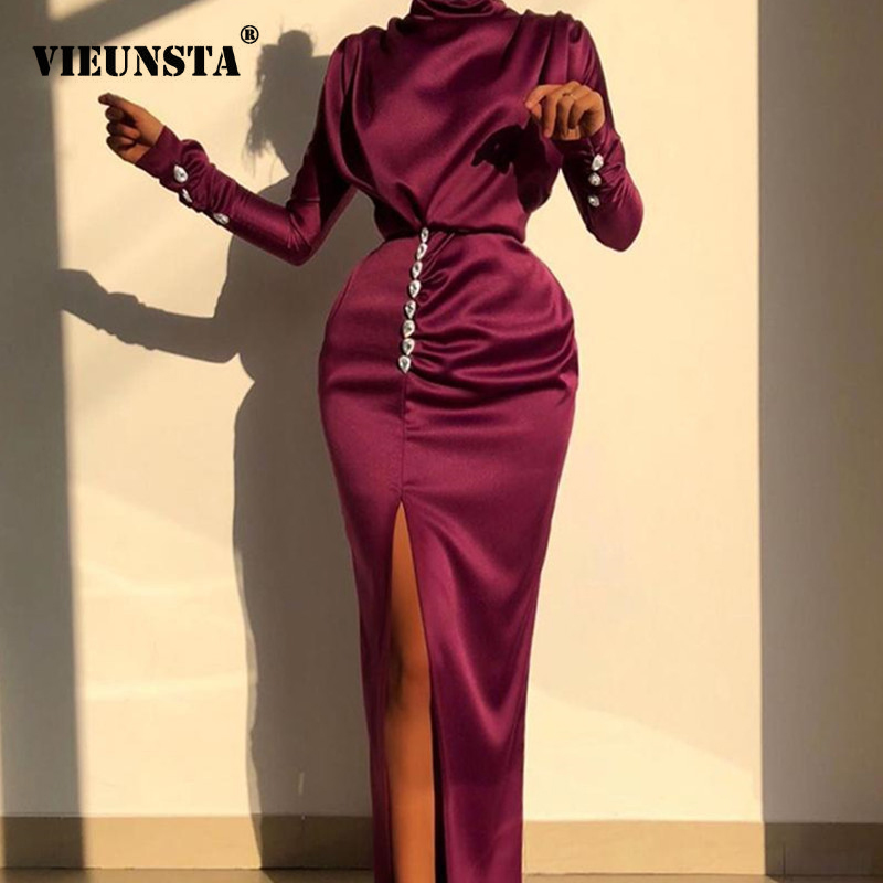Elegant Turtleneck Satin Silk Long Dress Women 2020 Spring Button Long Sleeve Split Party Dress Autumn Solid Slim Ladies Dresses