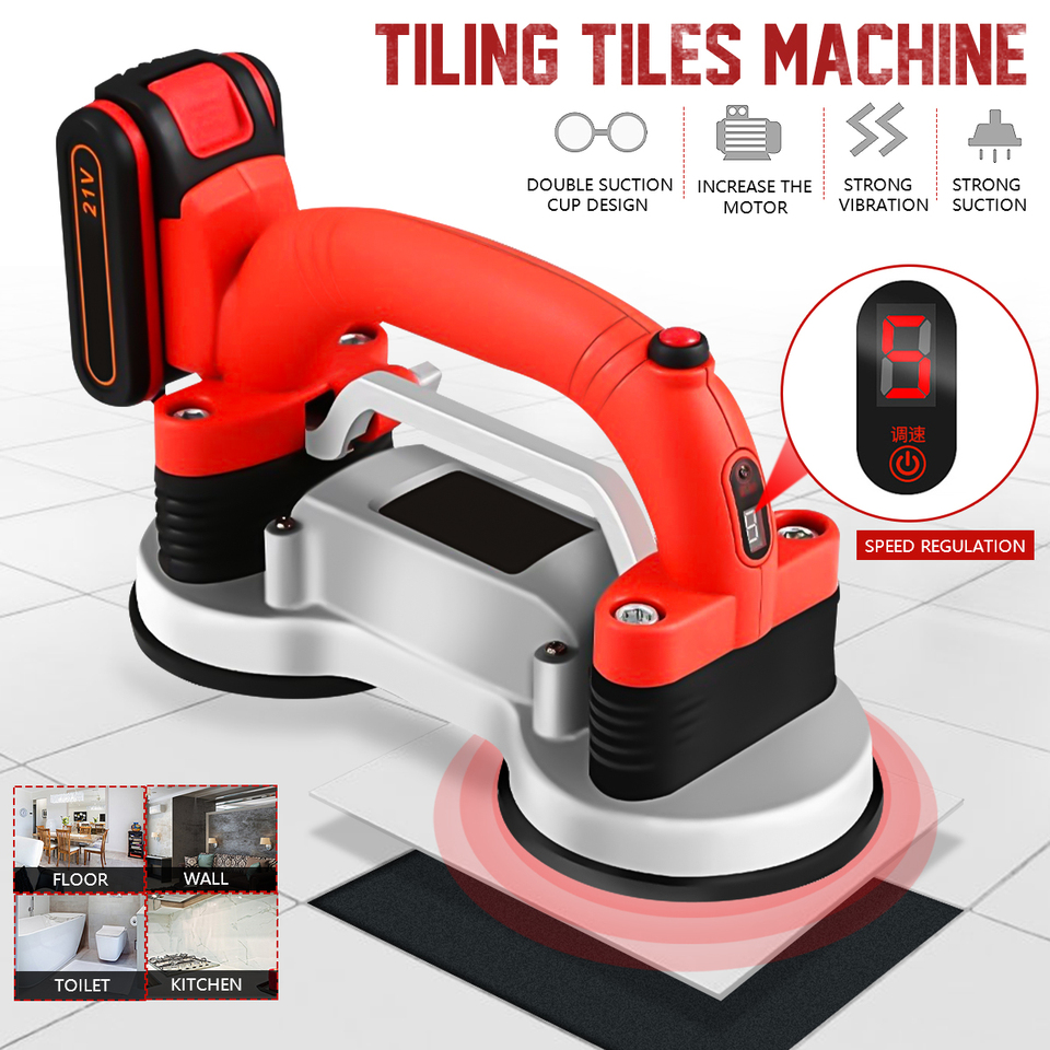 GYR Hand-held Tile Automatic Leveling Machine 2xBattery 6 Levels Tile Vibrator for 60-120cm Tiles Floor Plaster Machine Tile Laying Automatic Floor Vibrator Leveling Tool