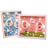 3D Baby Souvenir Set Handmade DIY Handprint Soft Clay Photo Frame Baby Souvenirs Baby Hand And Foot Mold Hundred Days Gift