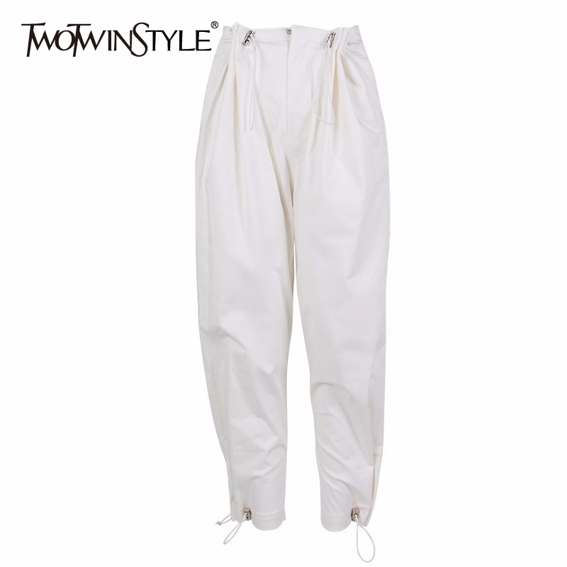 TWOTWINSTYLE Casual Loose Women Pants High Waist Drawstring White Female Trousers Korean Spring 2020 Fashion Large Size