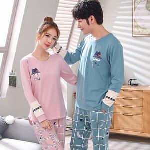 Image 2 - Пижамный комплект для мужчин и женщин, мягкая хлопковая одежда для сна с длинным рукавом и принтом, пикантная весенняя одежда для дома, для пар, подарок