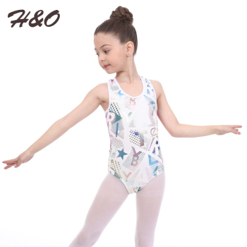 H&O Children Girls Ballet Dancing Dress Sleeveless Round Neck Cutout Back Ballet Gymnastics Leotard Jumpsuit Dance Performance blue crossed back design round neck sleeveless top