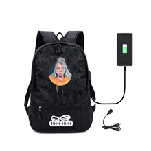 Billie Eilish Pattern Usb Charging Backpack 2020 Fashion Casual Student School Bag Outdoors Travel Backpacks Sale