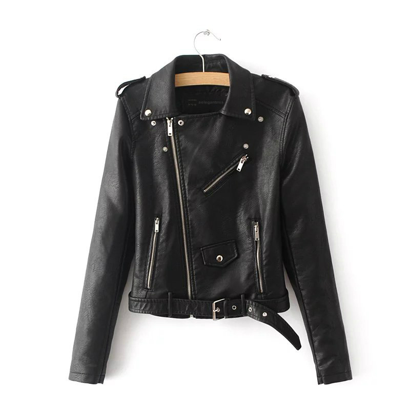 Autumn Black Basic Jacket Women 2019 Casual Zipper Short Faux Leather Motorcycle Jacket PU Leather Jacket Ladies Street Coat