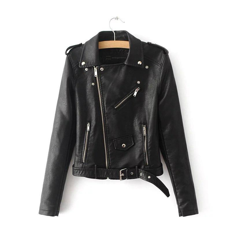 Autumn Black Basic Jacket Women 2019 Casual Zipper Short Faux Leather Motorcycle Jacket PU Leather Jacket Ladies Street Coat