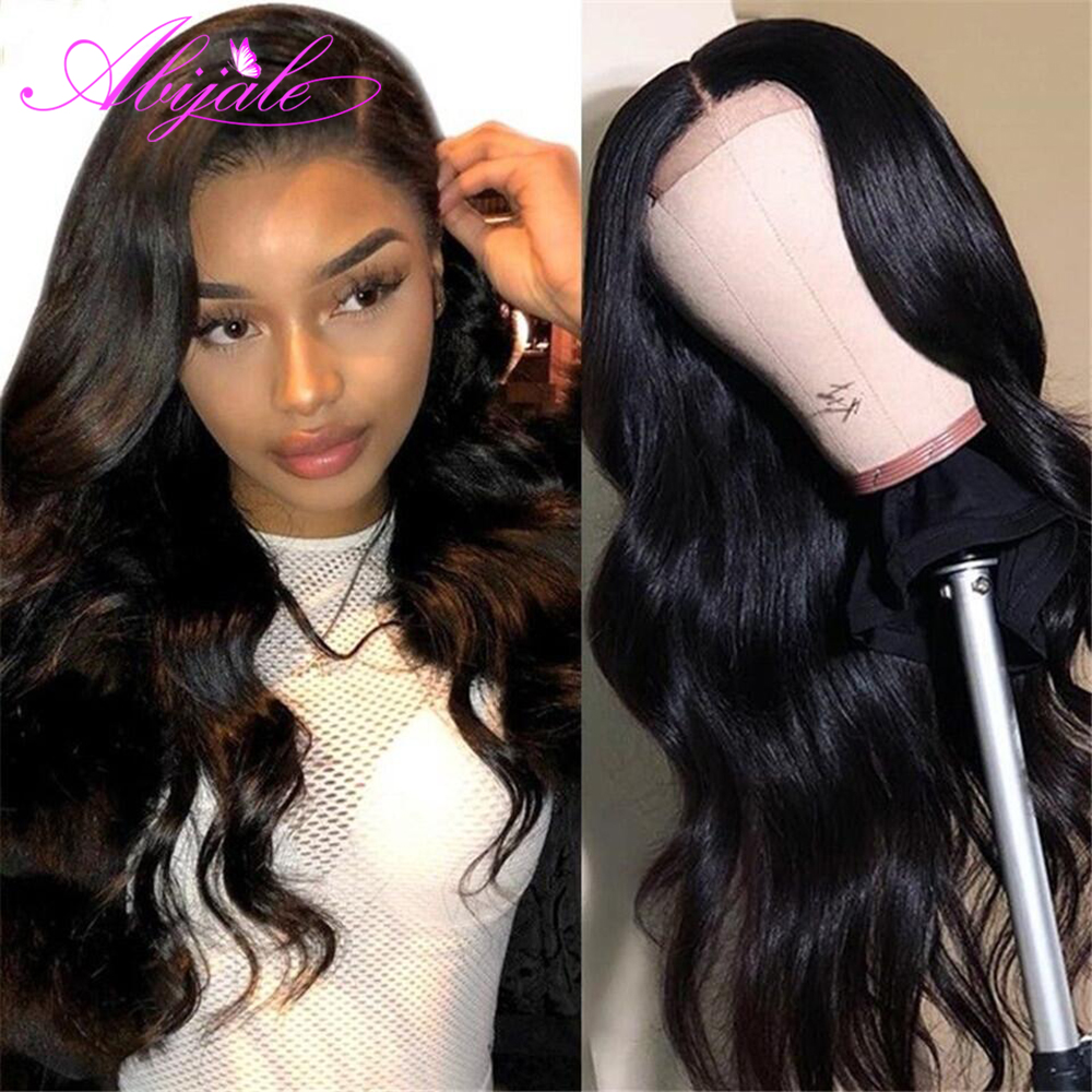 Abijale 4x4 Lace Closure Wig For Black Women Brazilian Body Wave Wig Pre Plucked With Baby Hair Remy