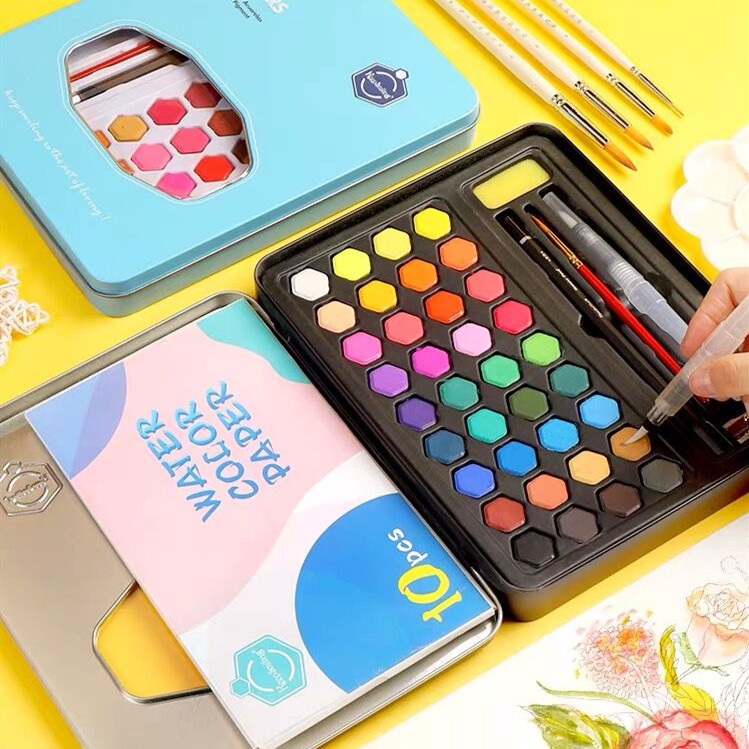 2020 Sharkbang 36 Colors Portable Art Solid Watercolor Paint Set For Beginners Hand-painted Water Color Painting Watercolour