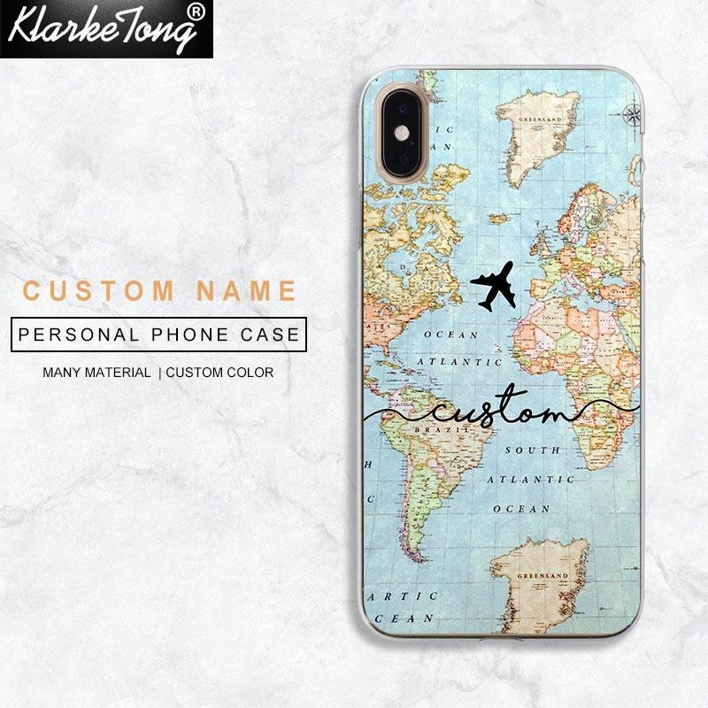 Персонализированные буквы на заказ карта мира чехол для телефона для iPhone 11 Xs Max Xr 8 7 6 Plus 5 5S Se Мягкий силиконовый чехол Fundas