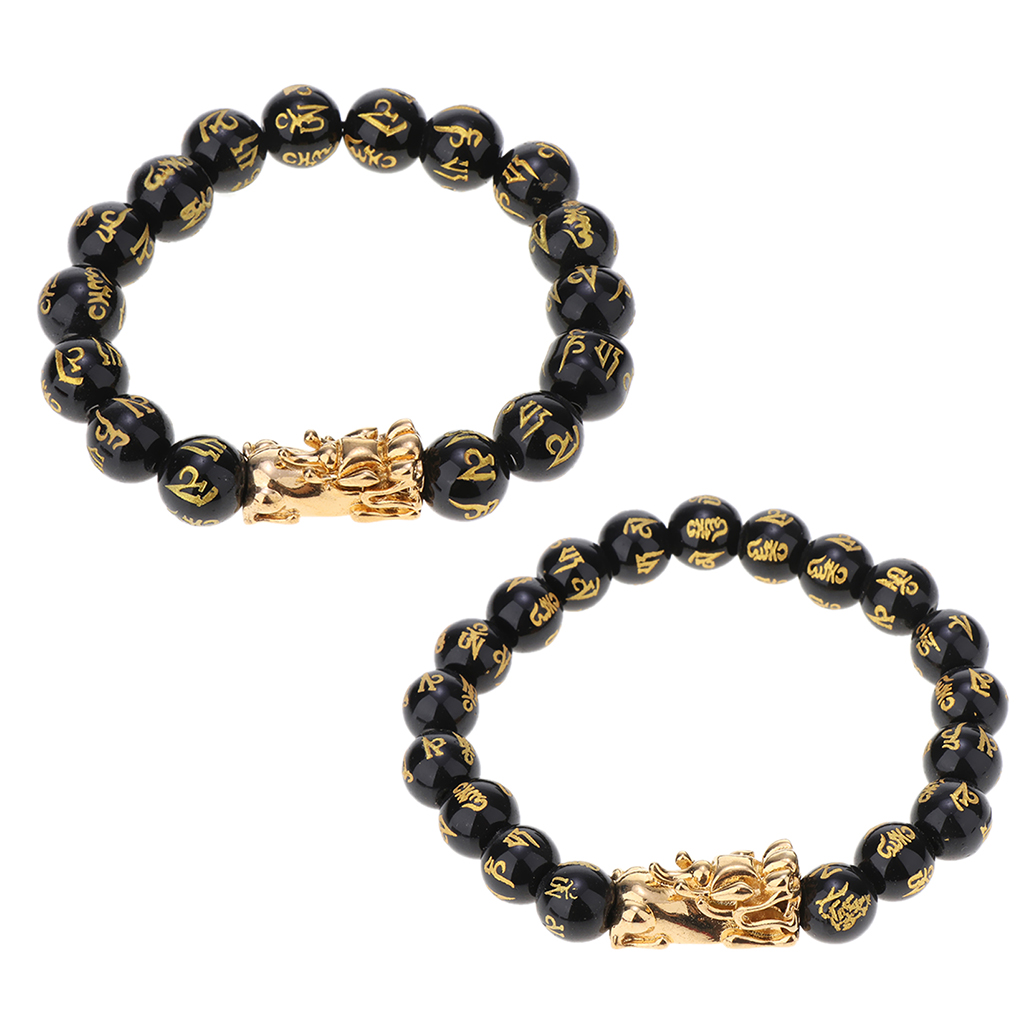 Feng Shui Black Gem Stone Wealth Porsperity Bracelet with Pi Xiu/Pi Yao, Attract Wealth and Good Luck, Deluxe Gift Box Included