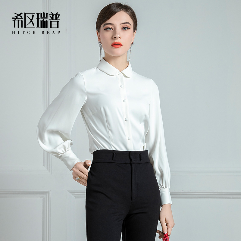 High End Temperament White Shirt Women'S Sense Of Design New Retro Round Neck French Lantern Sleeves