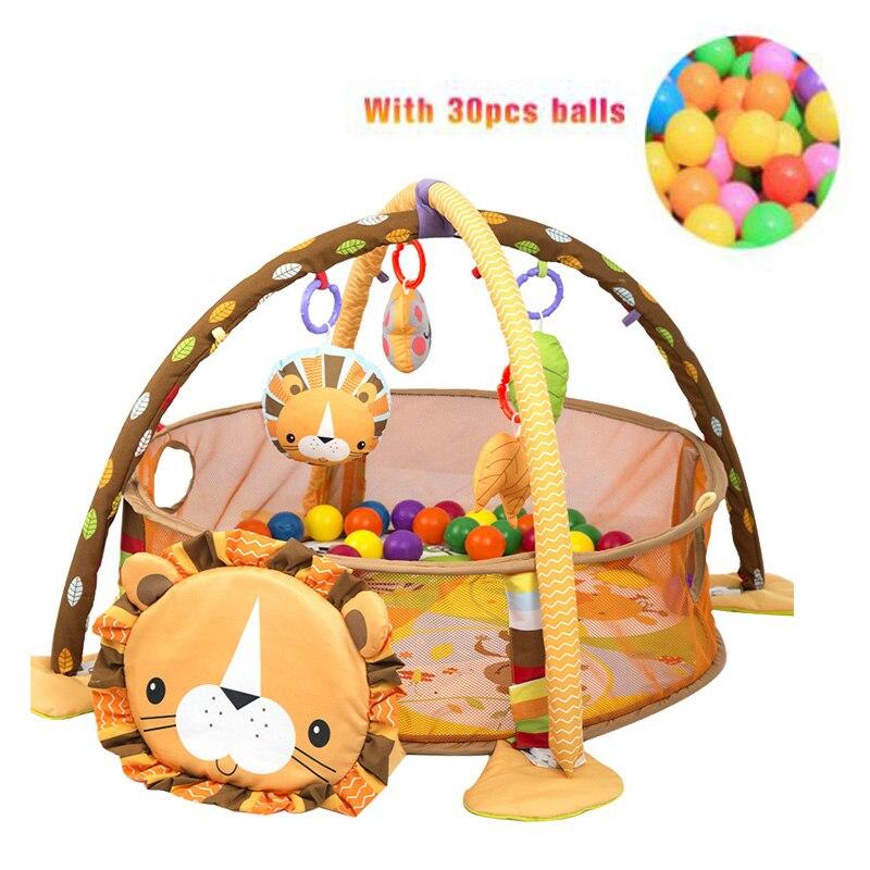 H734bd18f47084a07b55ad3ac44b3212aD 3 In 1 Baby Play Mat Round Lion Turtle Crawling Blanket Infant Game Pad Play Rug Kids Activity Mat Gym Folding Tapete Infantil