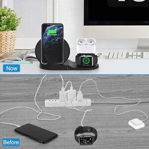 Image 4 - 10W Draadloze Oplader Station Usb C 3 In 1 Fast Charging Stand Voor Apple Horloge 5 4 3 2 1Airpods Pro Dock Voor Iphone 11 Xs Xr X 8