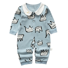 Cute Newborn Baby Boys Girls Romper Crown Letters Print Long Sleeve Autumn Winter Cotton Rompers Kid Jumpsuit Outfits Clothing