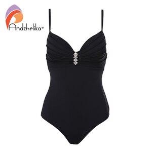 Image 4 - Andzhelika maillot de bain pour femmes, ensemble une pièce Sexy avec bretelles avec diamants, Push Up, couleur solide, Monokini, vêtements de plage, nouvelle collection 2020