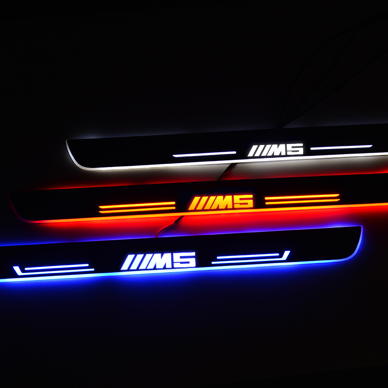 LED Door Sill For BMW M5 E60 E61 F10 F90 2006 To 2020 Car Door Scuff Plate Pedal Threshold Welcome Light Car Accessories