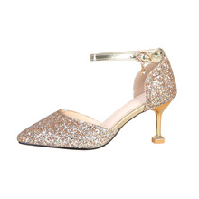 Teen Glitter Leather Shoes Thin Heels Bigger Girls Pointed T