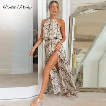 WildPinky Midi Dress Women Summer Beach Dress Femme Casual Clothing Halter Robe Backless Snake Print Dress Lady Elegant Dress aztec print plunge backless shift dress