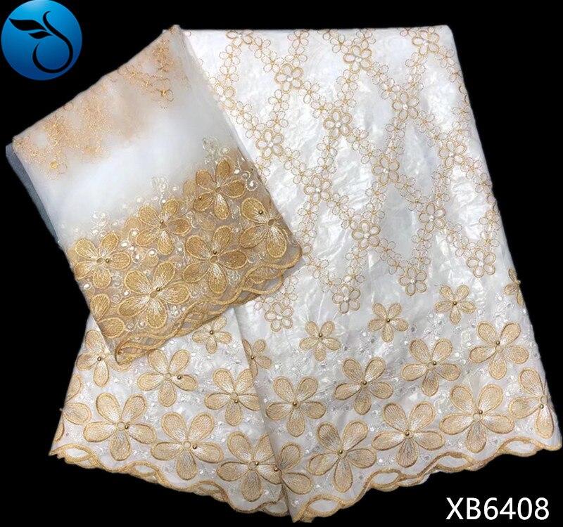 Tela de encaje de algodón de alta calidad con cuentas y bordado de tela de encaje de red 7 yardas XB64-in Tela from Hogar y Mascotas on AliExpress - 11.11_Double 11_Singles' Day 1