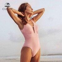 Cupshe sólido rosa babados profundo v neck maiô de uma peça sexy sem costas recorte feminino monokini 2020 praia fatos de banho Body Suits     -